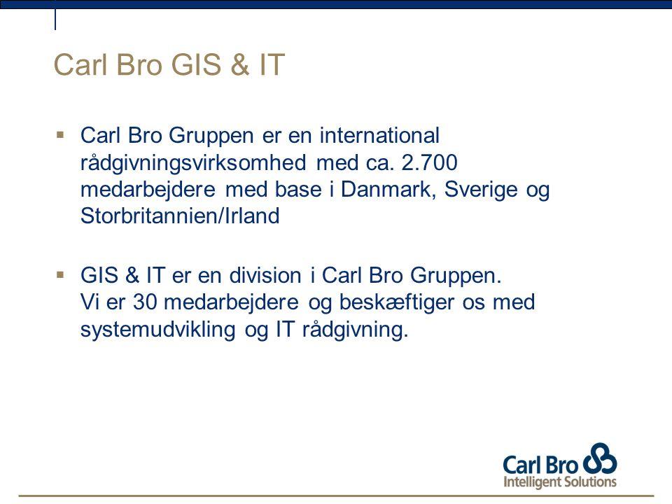 Carl Bro GIS & IT  Carl Bro Gruppen er en international rådgivningsvirksomhed med ca.