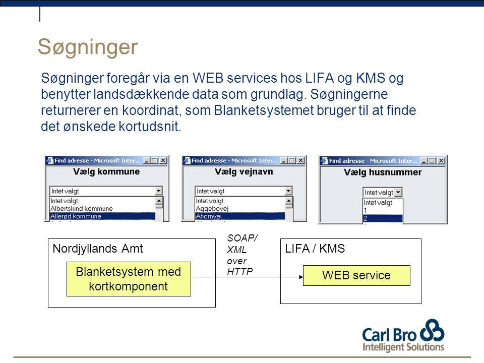Søgninger Søgninger foregår via en WEB services hos LIFA og KMS og benytter landsdækkende data som grundlag.