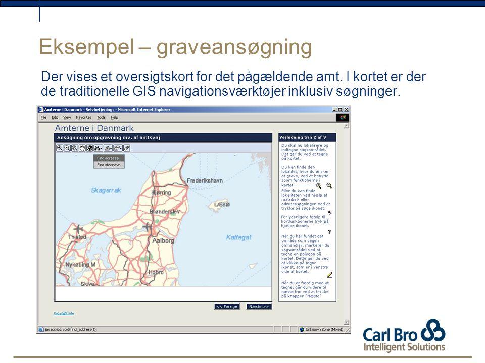 Eksempel – graveansøgning Der vises et oversigtskort for det pågældende amt.