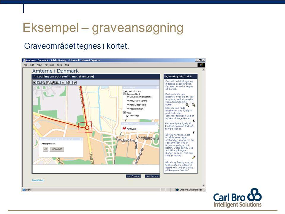 Eksempel – graveansøgning Graveområdet tegnes i kortet.