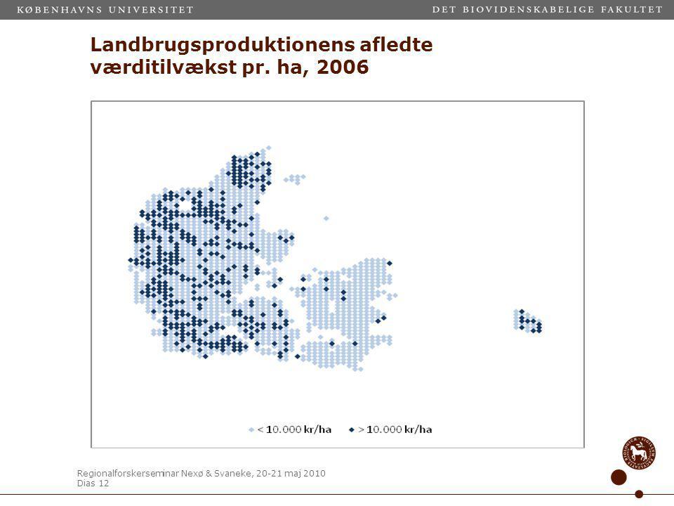 Regionalforskerseminar Nexø & Svaneke, 20-21 maj 2010 Dias 12 Landbrugsproduktionens afledte værditilvækst pr.