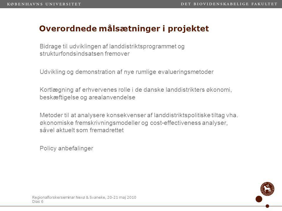 Regionalforskerseminar Nexø & Svaneke, 20-21 maj 2010 Dias 6 Overordnede målsætninger i projektet Bidrage til udviklingen af landdistriktsprogrammet og strukturfondsindsatsen fremover Udvikling og demonstration af nye rumlige evalueringsmetoder Kortlægning af erhvervenes rolle i de danske landdistrikters økonomi, beskæftigelse og arealanvendelse Metoder til at analysere konsekvenser af landdistriktspolitiske tiltag vha.