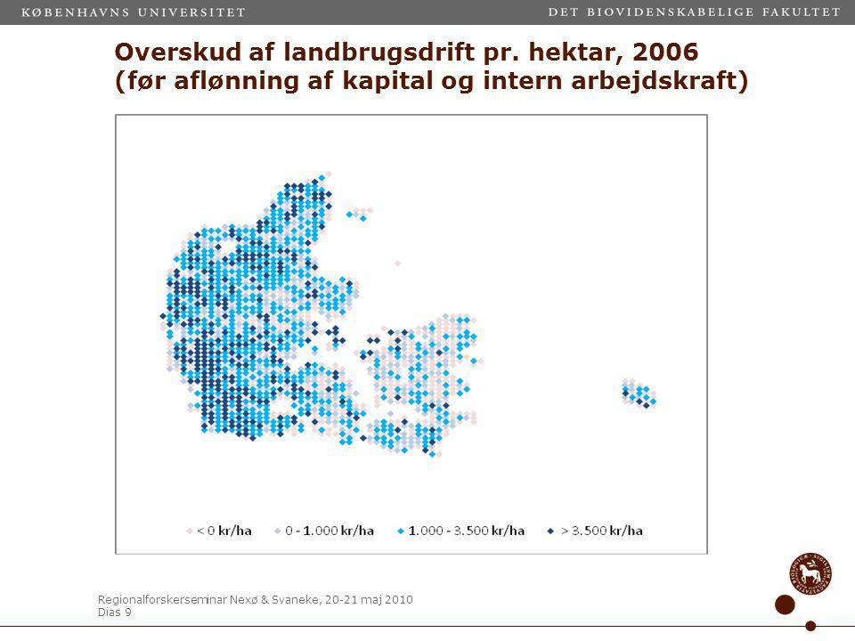 Regionalforskerseminar Nexø & Svaneke, 20-21 maj 2010 Dias 9 Overskud af landbrugsdrift pr.