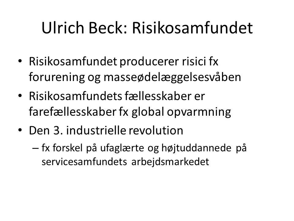 Ulrich Beck: Risikosamfundet Risikosamfundet producerer risici fx forurening og masseødelæggelsesvåben Risikosamfundets fællesskaber er farefællesskaber fx global opvarmning Den 3.