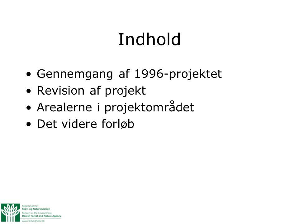 Indhold Gennemgang af 1996-projektet Revision af projekt Arealerne i projektområdet Det videre forløb