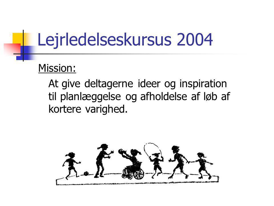 Lejrledelseskursus 2004 Mission: At give deltagerne ideer og inspiration til planlæggelse og afholdelse af løb af kortere varighed.