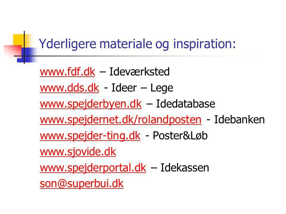 Yderligere materiale og inspiration: www.fdf.dkwww.fdf.dk – Ideværksted www.dds.dkwww.dds.dk - Ideer – Lege www.spejderbyen.dkwww.spejderbyen.dk – Idedatabase www.spejdernet.dk/rolandpostenwww.spejdernet.dk/rolandposten - Idebanken www.spejder-ting.dkwww.spejder-ting.dk - Poster&Løb www.sjovide.dk www.spejderportal.dkwww.spejderportal.dk – Idekassen son@superbui.dk