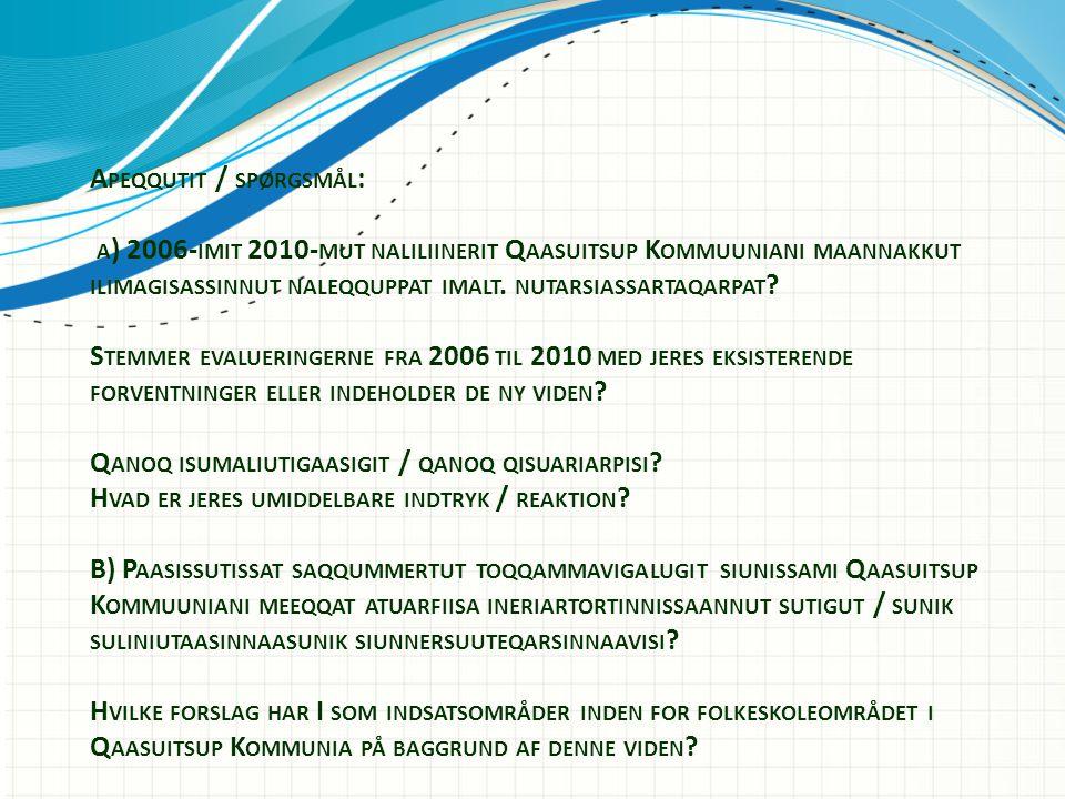 A PEQQUTIT / SPØRGSMÅL : A ) 2006- IMIT 2010- MUT NALILIINERIT Q AASUITSUP K OMMUUNIANI MAANNAKKUT ILIMAGISASSINNUT NALEQQUPPAT IMALT.