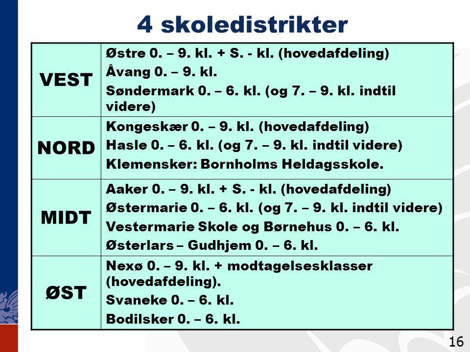 4 skoledistrikter VEST Østre 0. – 9. kl. + S. - kl.