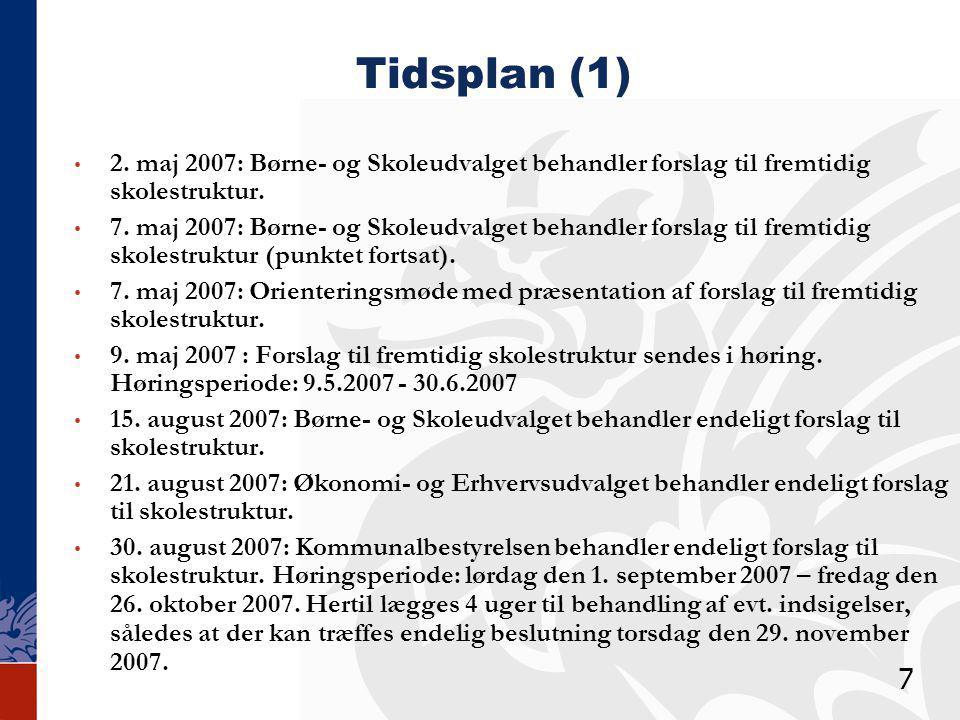 Tidsplan (1) 2. maj 2007: Børne- og Skoleudvalget behandler forslag til fremtidig skolestruktur.