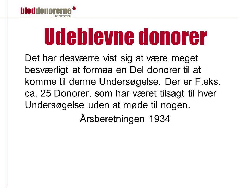 Udeblevne donorer Det har desværre vist sig at være meget besværligt at formaa en Del donorer til at komme til denne Undersøgelse.