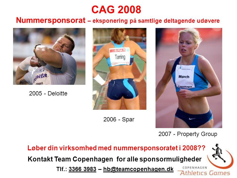 2005 - Deloitte 2006 - Spar 2007 - Property Group Nummersponsorat – eksponering på samtlige deltagende udøvere Løber din virksomhed med nummersponsoratet i 2008 .