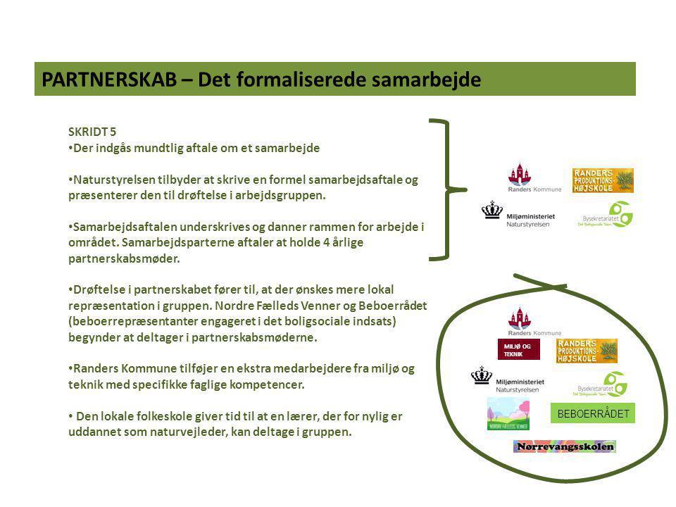 PARTNERSKAB – Det formaliserede samarbejde SKRIDT 5 Der indgås mundtlig aftale om et samarbejde Naturstyrelsen tilbyder at skrive en formel samarbejdsaftale og præsenterer den til drøftelse i arbejdsgruppen.