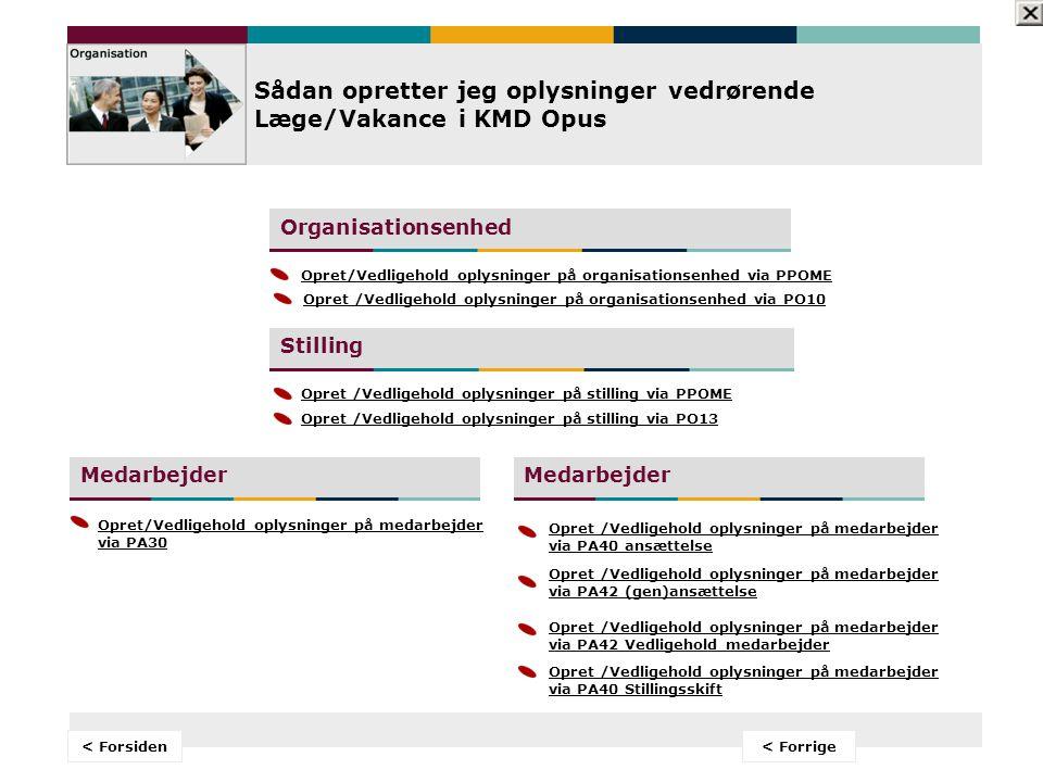 Forside < Velkomst Sådan opretter jeg oplysninger vedrørende Læge/Vakance i KMD Opus Sådan opretter jeg oplysninger vedrørende Læge/Vakance i KMD Opus Sådan udtrækker jeg rapporter vedrørende Læge/Vakance i KMD Opus Sådan udtrækker jeg rapporter vedrørende Læge/Vakance i KMD Opus Din indgang til at arbejde med Læge/Vakance i KMD Opus TIP.