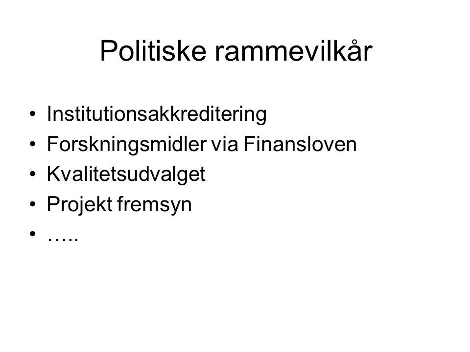 Politiske rammevilkår Institutionsakkreditering Forskningsmidler via Finansloven Kvalitetsudvalget Projekt fremsyn …..