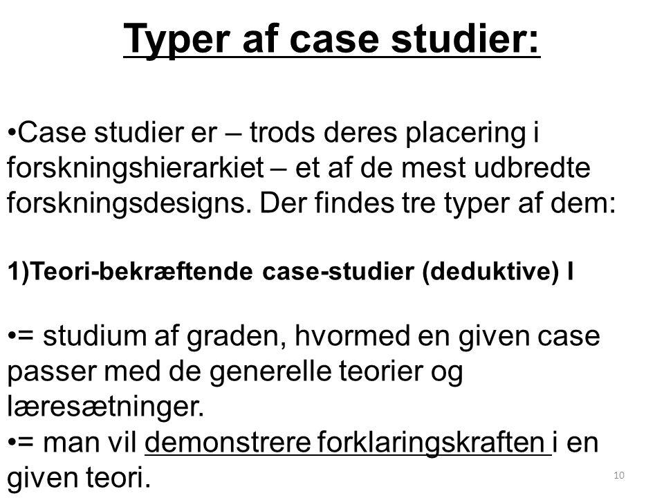 Typer af case studier: Case studier er – trods deres placering i forskningshierarkiet – et af de mest udbredte forskningsdesigns.