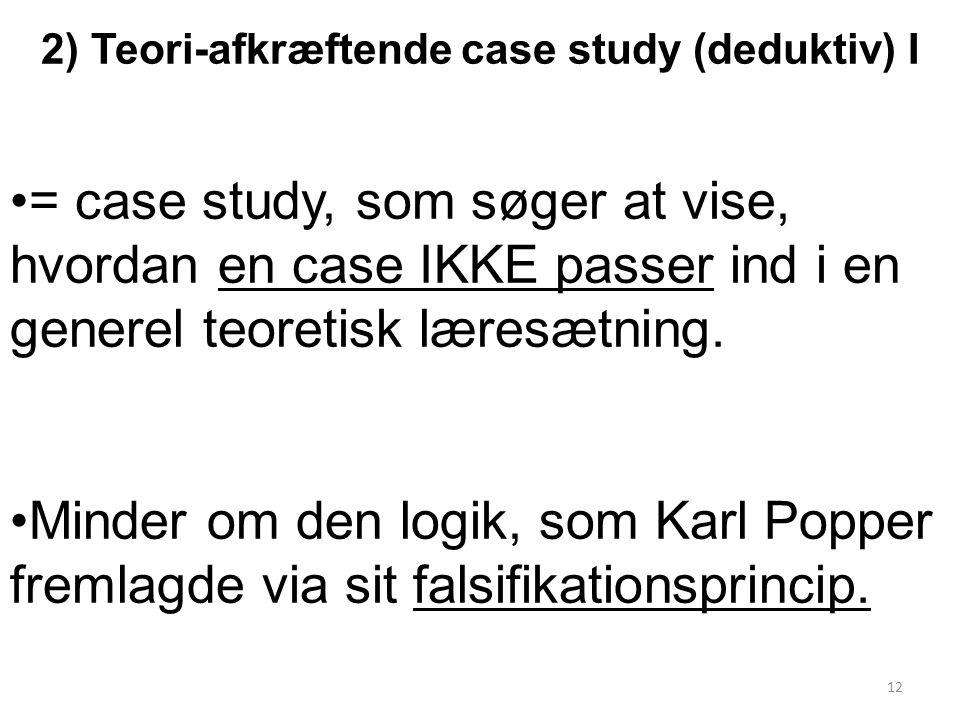 2) Teori-afkræftende case study (deduktiv) I = case study, som søger at vise, hvordan en case IKKE passer ind i en generel teoretisk læresætning.