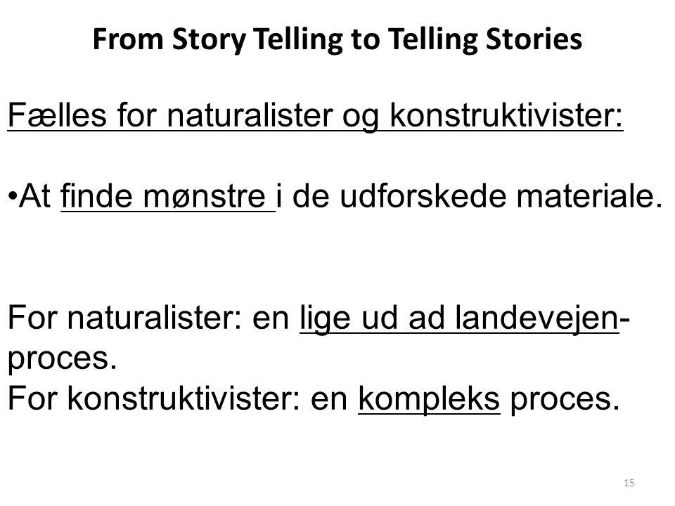 From Story Telling to Telling Stories Fælles for naturalister og konstruktivister: At finde mønstre i de udforskede materiale.