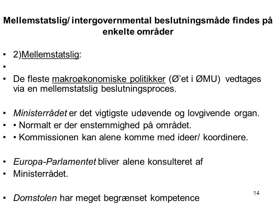 Mellemstatslig/ intergovernmental beslutningsmåde findes på enkelte områder 2)Mellemstatslig: De fleste makroøkonomiske politikker (Ø'et i ØMU) vedtages via en mellemstatslig beslutningsproces.