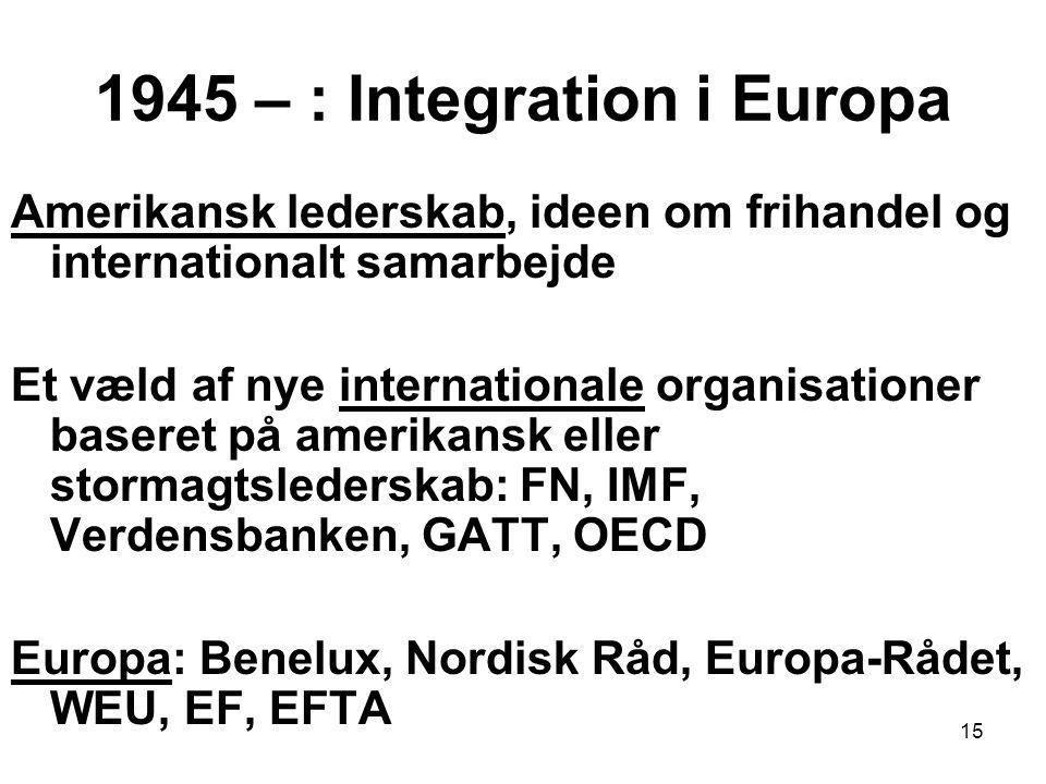 1945 – : Integration i Europa Amerikansk lederskab, ideen om frihandel og internationalt samarbejde Et væld af nye internationale organisationer baseret på amerikansk eller stormagtslederskab: FN, IMF, Verdensbanken, GATT, OECD Europa: Benelux, Nordisk Råd, Europa-Rådet, WEU, EF, EFTA 15