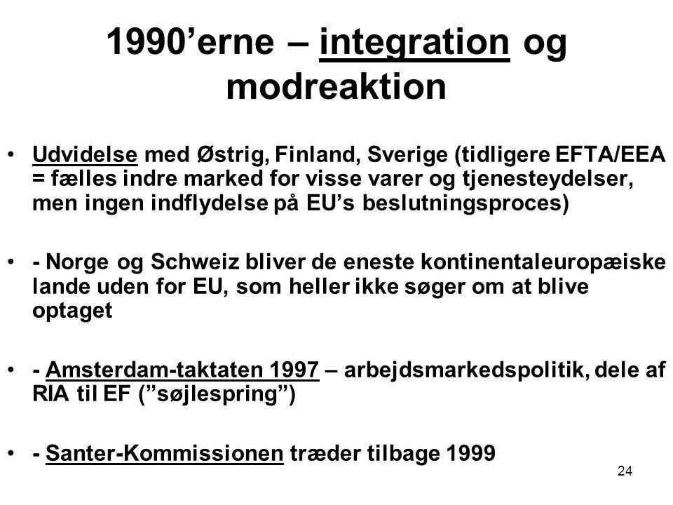 1990'erne – integration og modreaktion Udvidelse med Østrig, Finland, Sverige (tidligere EFTA/EEA = fælles indre marked for visse varer og tjenesteydelser, men ingen indflydelse på EU's beslutningsproces) - Norge og Schweiz bliver de eneste kontinentaleuropæiske lande uden for EU, som heller ikke søger om at blive optaget - Amsterdam-taktaten 1997 – arbejdsmarkedspolitik, dele af RIA til EF ( søjlespring ) - Santer-Kommissionen træder tilbage 1999 24