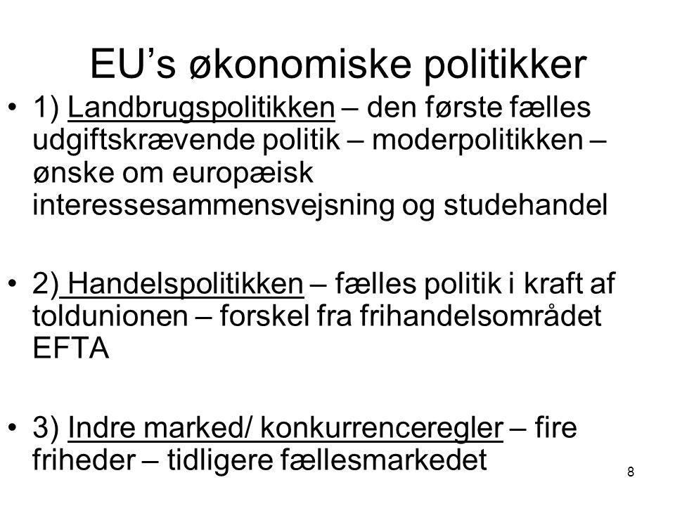 EU's økonomiske politikker 1) Landbrugspolitikken – den første fælles udgiftskrævende politik – moderpolitikken – ønske om europæisk interessesammensvejsning og studehandel 2) Handelspolitikken – fælles politik i kraft af toldunionen – forskel fra frihandelsområdet EFTA 3) Indre marked/ konkurrenceregler – fire friheder – tidligere fællesmarkedet 8