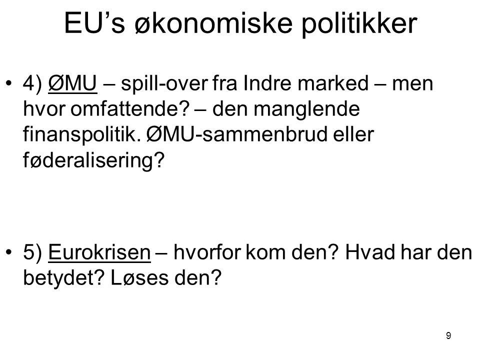 EU's økonomiske politikker 4) ØMU – spill-over fra Indre marked – men hvor omfattende.