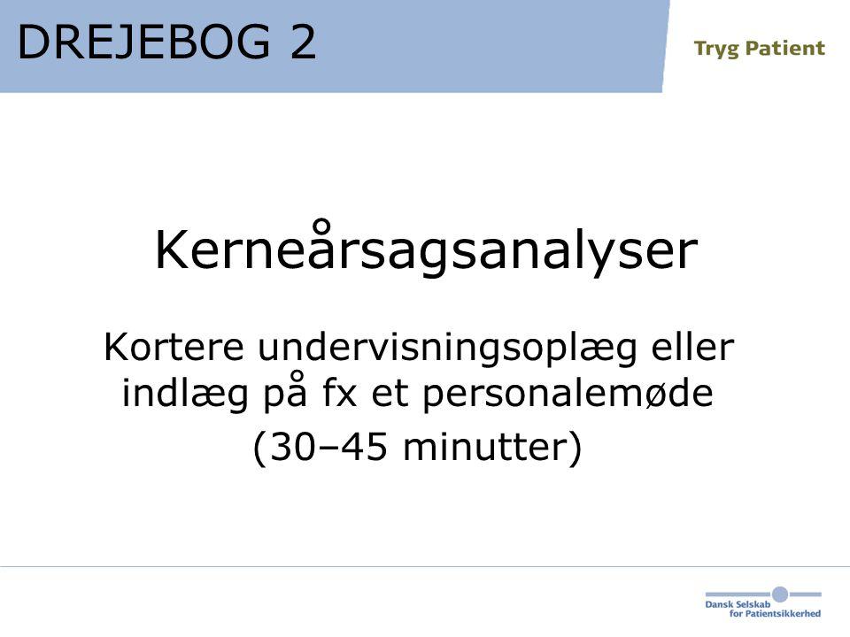 Kerneårsagsanalyser Kortere undervisningsoplæg eller indlæg på fx et personalemøde (30–45 minutter) DREJEBOG 2