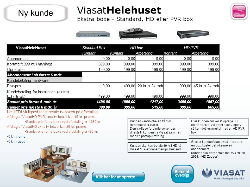 ViasatHelehuset Ekstra boxe - Standard, HD eller PVR box Ny kunde Hvis kunden ønsker at optage 3D enten direkte, via timer eller Viaplay – så kan det kun muligt med en HD PVR box Ønsker kunden Viaplay på mere end en box, koster det ikke mere i abonnement.