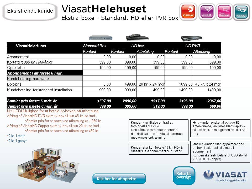 ViasatHelehuset Ekstra boxe - Standard, HD eller PVR box Eksistrende kunde Kunden skal kun betale 49 kr.i HD- & ViasatPlus -abonnement pr.