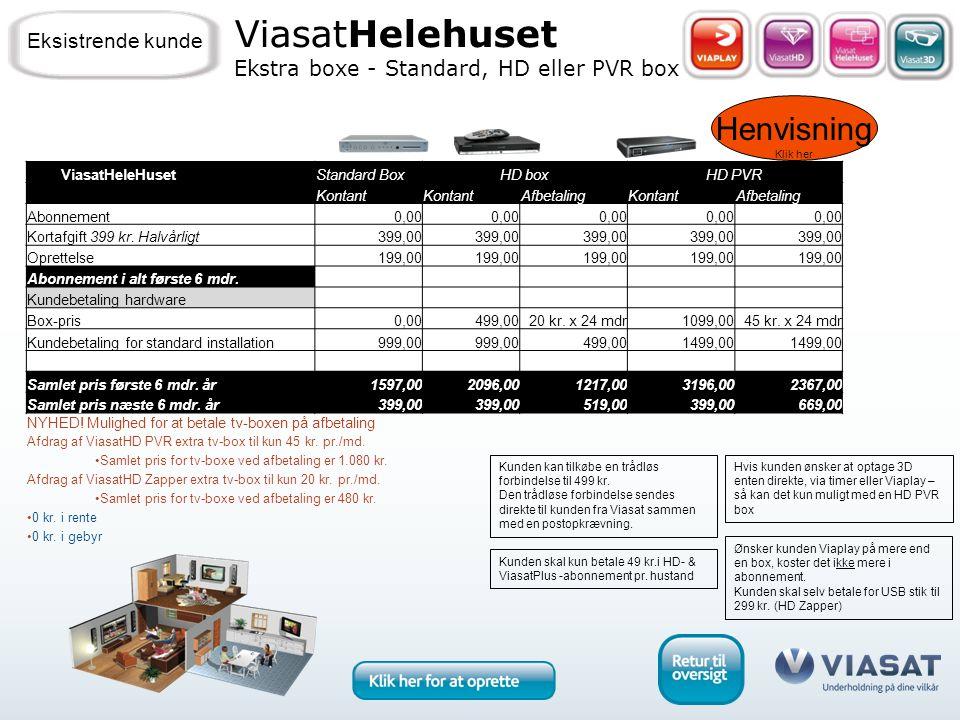 Henvisning Klik her ViasatHelehuset Ekstra boxe - Standard, HD eller PVR box Eksistrende kunde Kunden skal kun betale 49 kr.i HD- & ViasatPlus -abonnement pr.