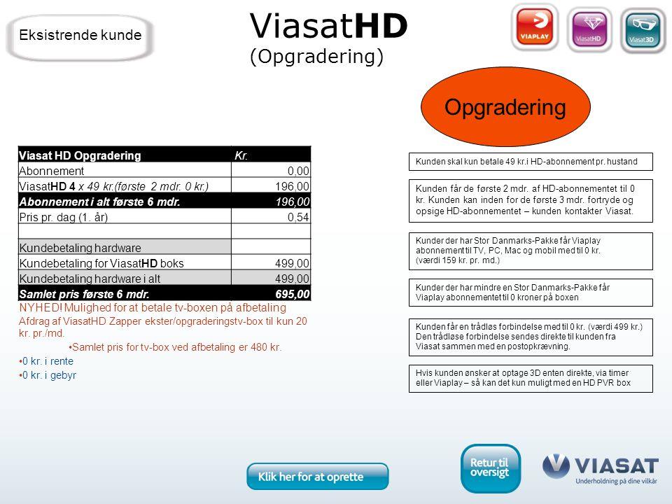 Opgradering Kunden får de første 2 mdr. af HD-abonnementet til 0 kr.