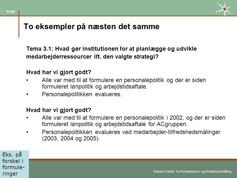 Statens Center for Kompetence- og Kvalitetsudvikling SCKK To eksempler på næsten det samme Tema 3.1: Hvad gør institutionen for at planlægge og udvikle medarbejderressourcer ift.