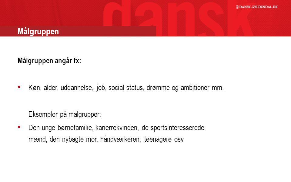 Målgruppen Målgruppen angår fx: Køn, alder, uddannelse, job, social status, drømme og ambitioner mm.