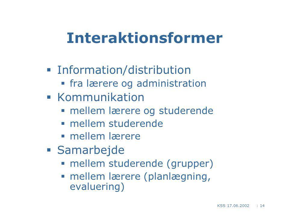 : 14KSS 17.06.2002 Interaktionsformer  Information/distribution  fra lærere og administration  Kommunikation  mellem lærere og studerende  mellem studerende  mellem lærere  Samarbejde  mellem studerende (grupper)  mellem lærere (planlægning, evaluering)
