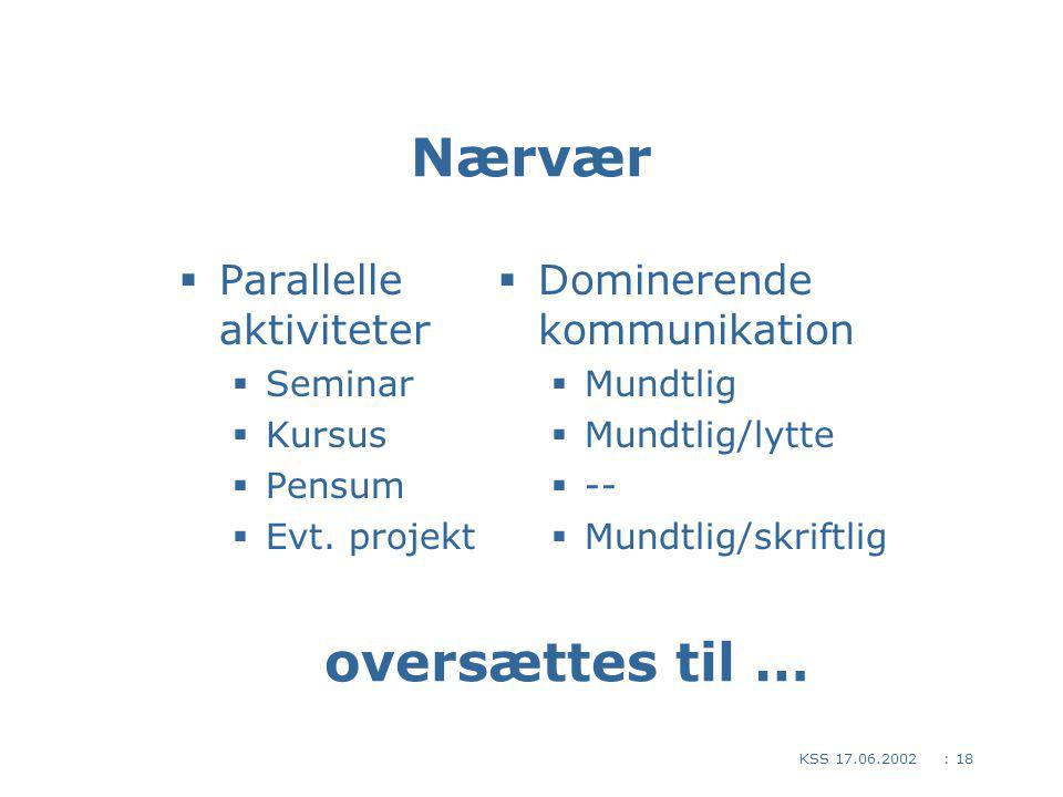 : 18KSS 17.06.2002 Nærvær  Parallelle aktiviteter  Seminar  Kursus  Pensum  Evt.