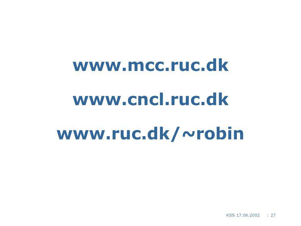 : 27KSS 17.06.2002 www.mcc.ruc.dk www.cncl.ruc.dk www.ruc.dk/~robin Links