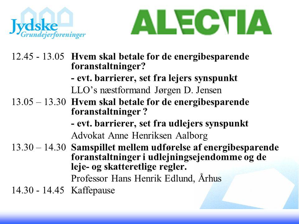 12.45 - 13.05Hvem skal betale for de energibesparende foranstaltninger.