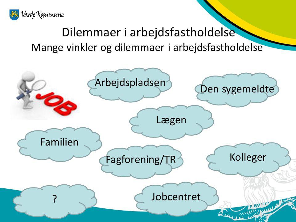 Dilemmaer i arbejdsfastholdelse Mange vinkler og dilemmaer i arbejdsfastholdelse Arbejdspladsen Den sygemeldte Lægen Jobcentret Kolleger .
