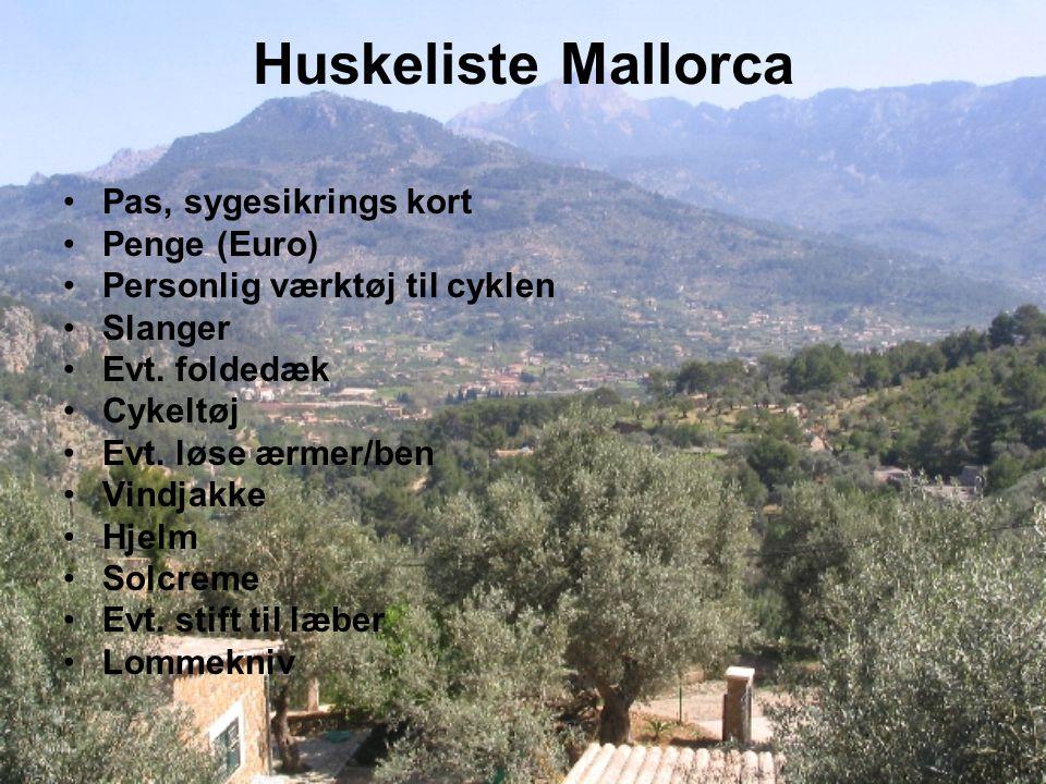 Huskeliste Mallorca Pas, sygesikrings kort Penge (Euro) Personlig værktøj til cyklen Slanger Evt.