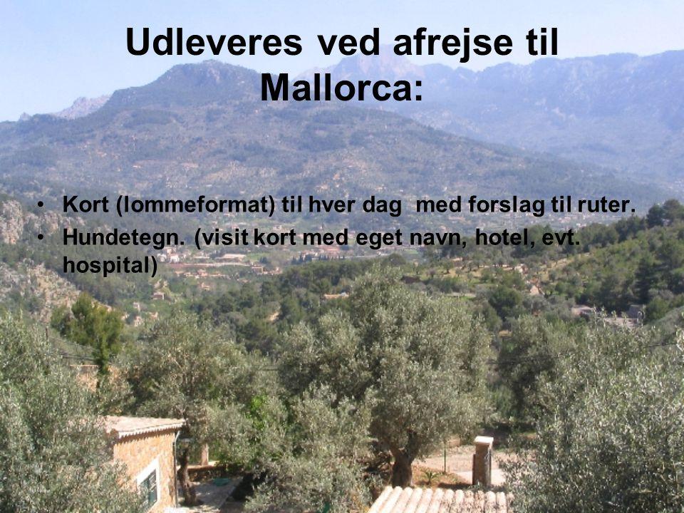 Udleveres ved afrejse til Mallorca: Kort (lommeformat) til hver dag med forslag til ruter.