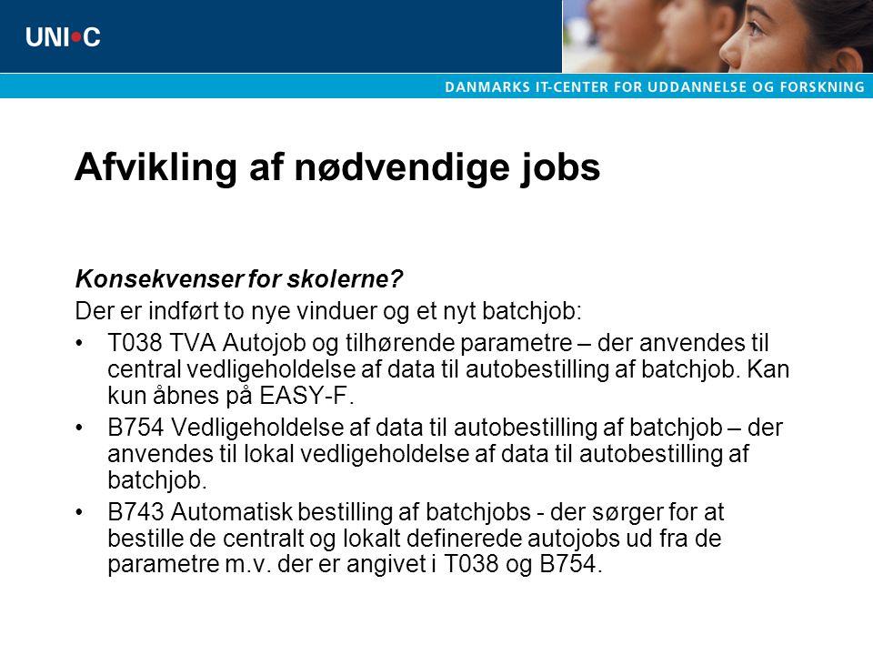 Afvikling af nødvendige jobs Konsekvenser for skolerne.