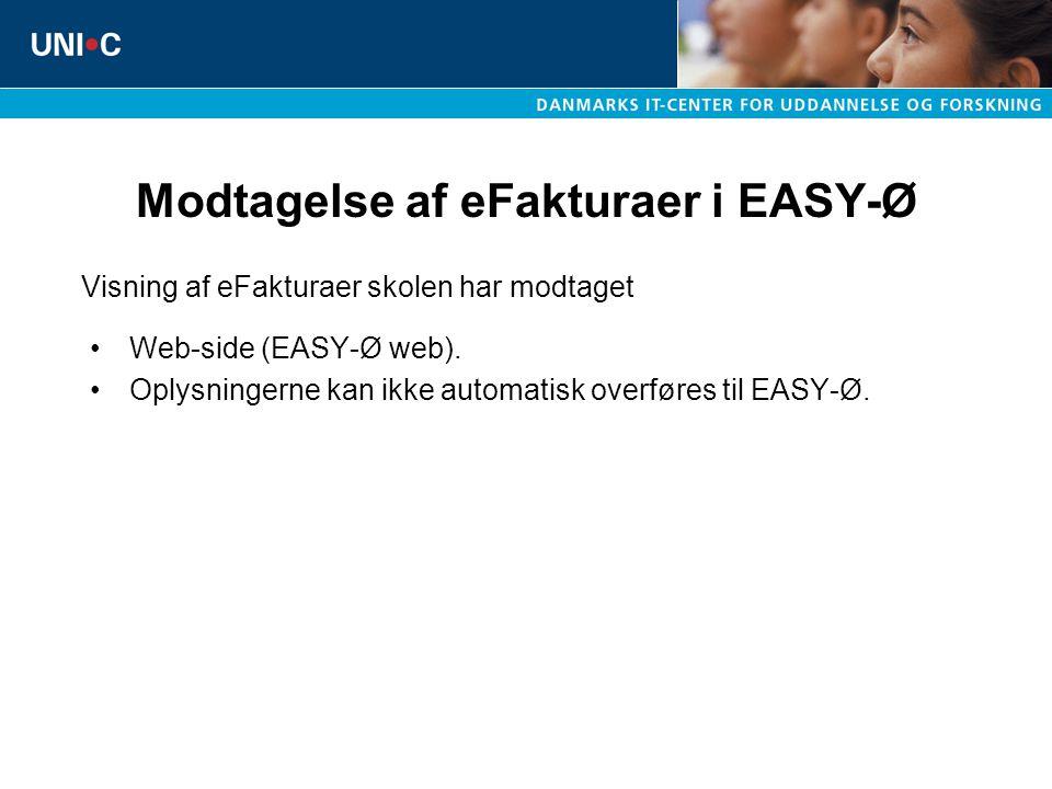 Modtagelse af eFakturaer i EASY-Ø Web-side (EASY-Ø web).