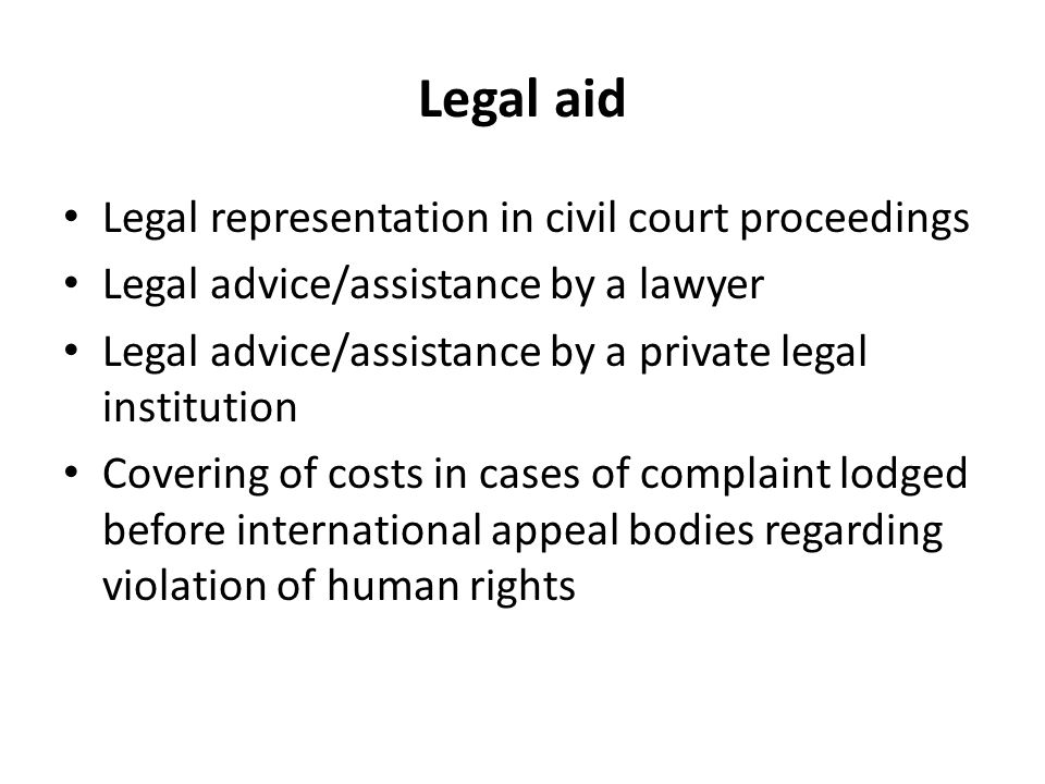 Legal aid Legal representation in civil court proceedings Legal advice/assistance by a lawyer Legal advice/assistance by a private legal institution Covering of costs in cases of complaint lodged before international appeal bodies regarding violation of human rights