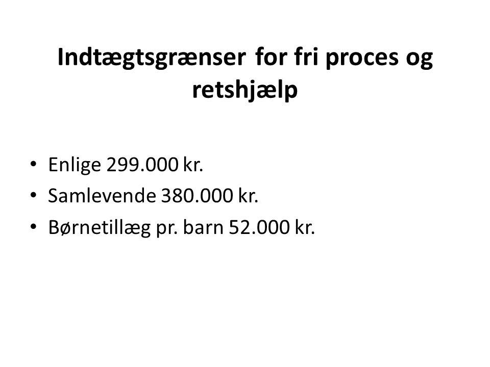 Indtægtsgrænser for fri proces og retshjælp Enlige 299.000 kr.