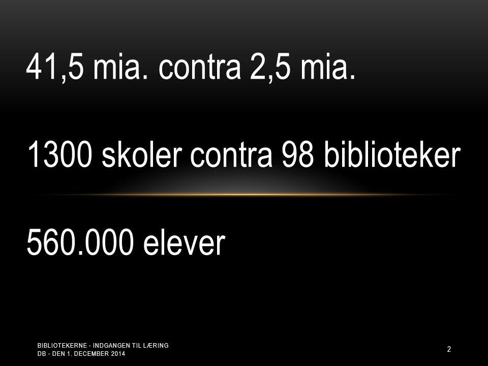 2 41,5 mia. contra 2,5 mia. 1300 skoler contra 98 biblioteker 560.000 elever