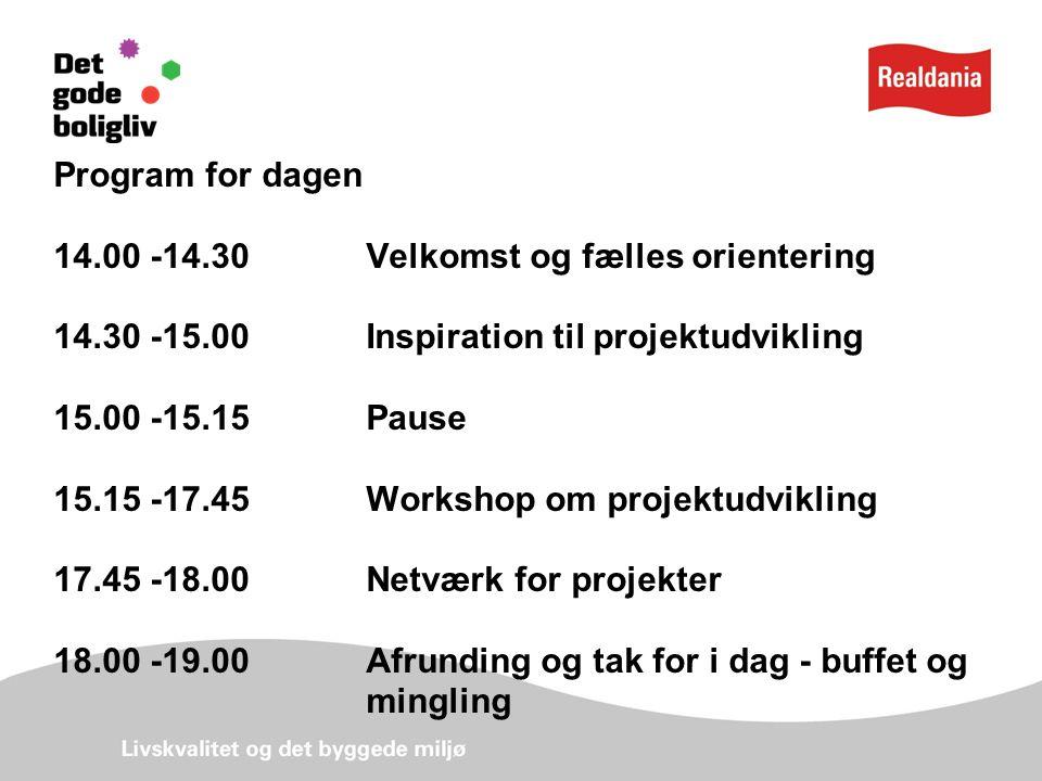Program for dagen 14.00 -14.30 Velkomst og fælles orientering 14.30 -15.00 Inspiration til projektudvikling 15.00 -15.15Pause 15.15 -17.45 Workshop om projektudvikling 17.45 -18.00 Netværk for projekter 18.00 -19.00 Afrunding og tak for i dag - buffet og mingling