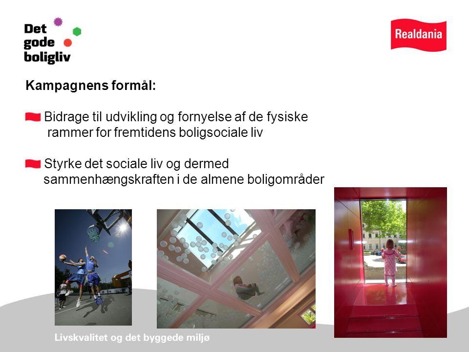 Kampagnens formål: Bidrage til udvikling og fornyelse af de fysiske rammer for fremtidens boligsociale liv Styrke det sociale liv og dermed sammenhængskraften i de almene boligområder