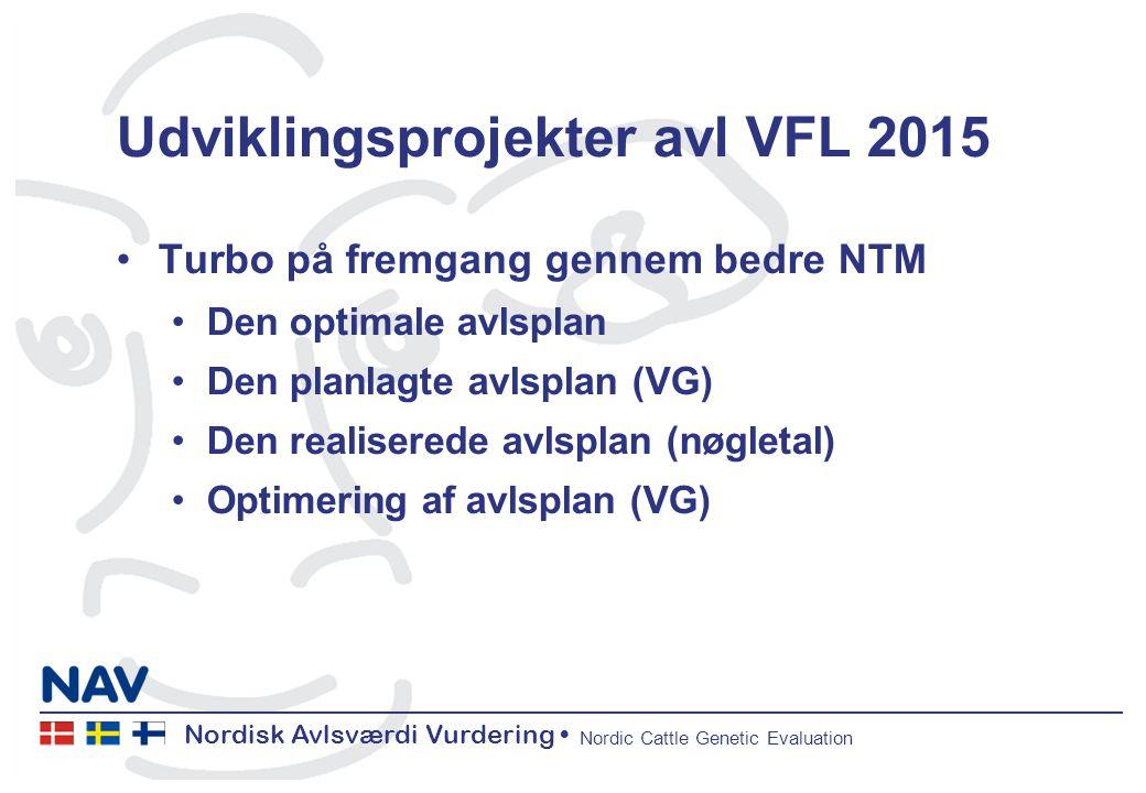 Nordisk Avlsværdi Vurdering Nordic Cattle Genetic Evaluation Udviklingsprojekter avl VFL 2015 Turbo på fremgang gennem bedre NTM Den optimale avlsplan Den planlagte avlsplan (VG) Den realiserede avlsplan (nøgletal) Optimering af avlsplan (VG)