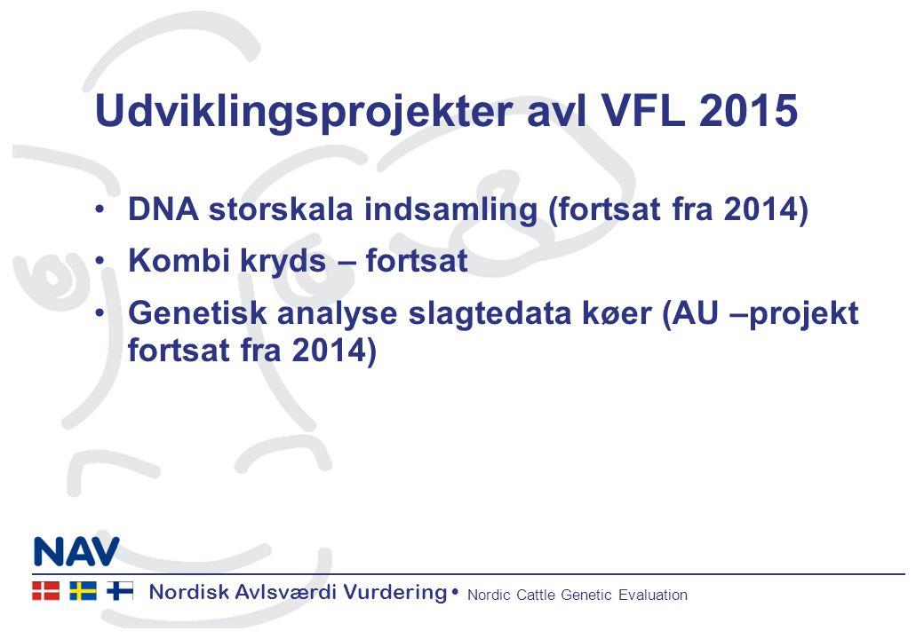 Nordisk Avlsværdi Vurdering Nordic Cattle Genetic Evaluation Udviklingsprojekter avl VFL 2015 DNA storskala indsamling (fortsat fra 2014) Kombi kryds – fortsat Genetisk analyse slagtedata køer (AU –projekt fortsat fra 2014)